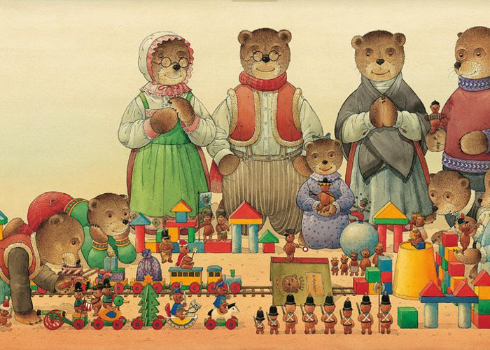 Christmas Greeting Cards Teddybear Greeting Card featuring the painting Teddybears and Bears Christmas by Kestutis Kasparavicius