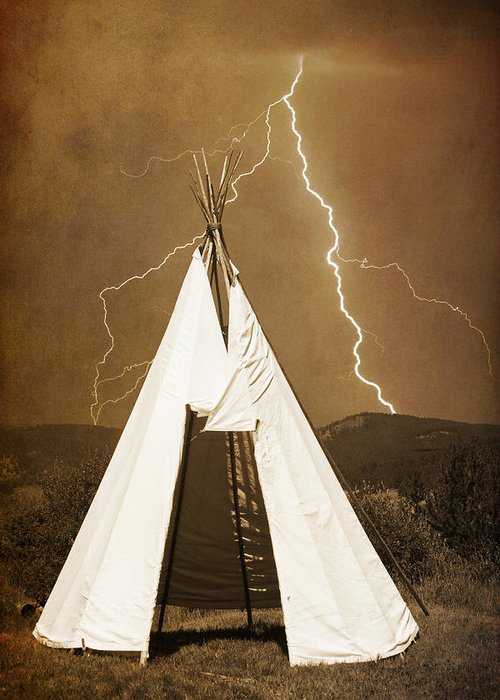Tee Pee Greeting Card featuring the photograph Tee Pee Lightning by James BO Insogna