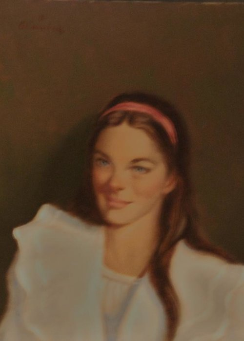 Portrait Greeting Card featuring the painting Teen Innocence by David Olander