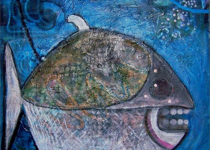 Fish Sea Marine Dentist Floss Greeting Card featuring the mixed media Teeth by Dave Kwinter