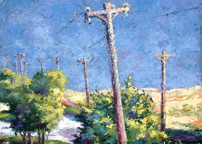 Landscape Painting Greeting Card featuring the painting Telephone Poles Before The Rain by Lewis Bowman