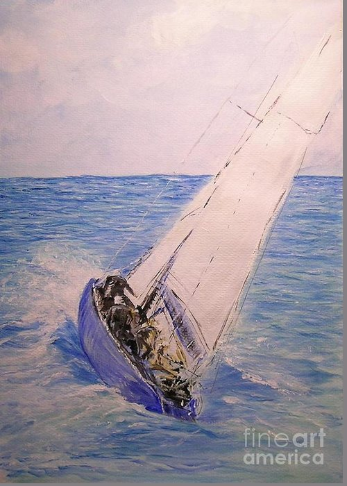 Seascape Greeting Card featuring the painting Tell Tails In The Wind by Lizzy Forrester