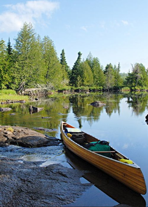 Boundary Waters Canoe Area Wilderness Greeting Card featuring the photograph Temperance River Portage by Larry Ricker