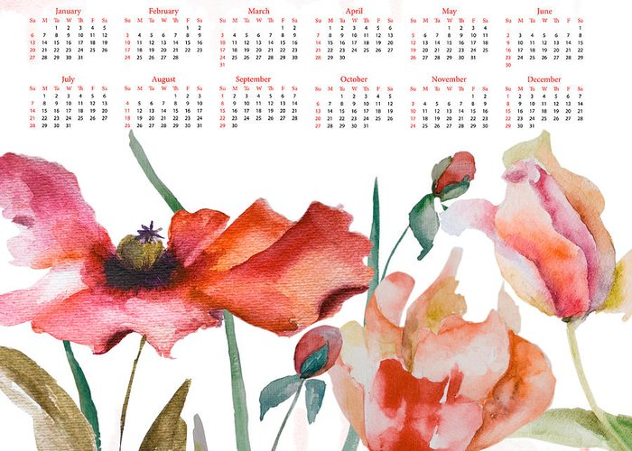 Art Greeting Card featuring the painting Template For Calendar 2013 by Regina Jershova