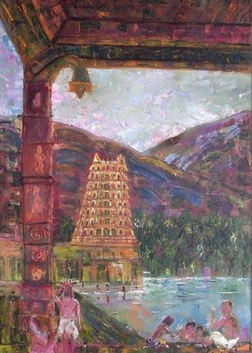 India Greeting Card featuring the painting Temple by Bindu Bajaj