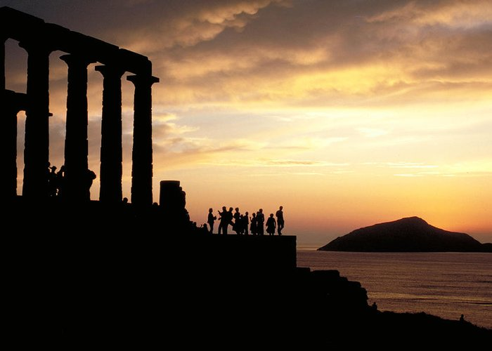 Tourists Greeting Card featuring the photograph Temple Of Poseiden In Greece by Carl Purcell