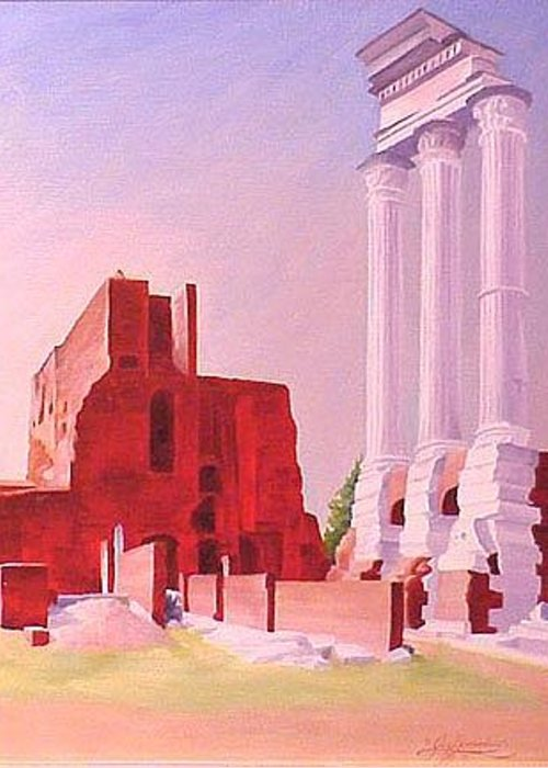 Rome Greeting Card featuring the painting Temple Of The Castors In The Roman Forum by Gary Hernandez