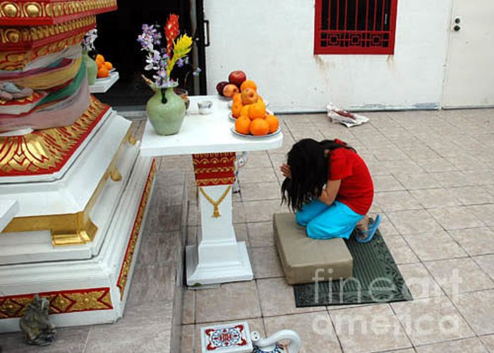 Child Greeting Card featuring the photograph Temple Prayer by Michael Ziegler