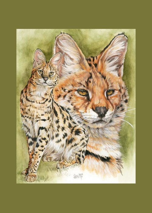 Serval Greeting Card featuring the mixed media Tempo by Barbara Keith