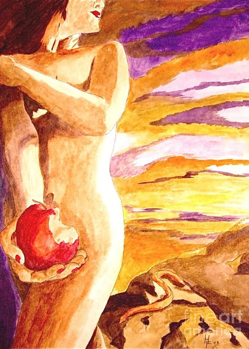 Watercolor Greeting Card featuring the painting Temptation by Herschel Fall