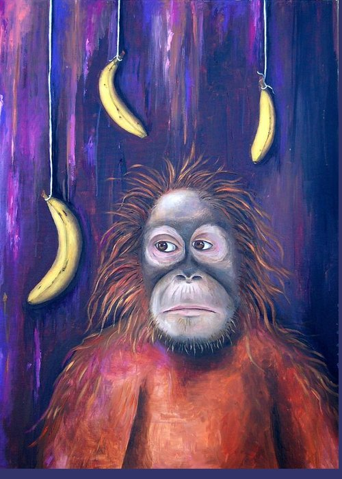 Bananas.ape Greeting Card featuring the painting Temptation by Leah Saulnier The Painting Maniac