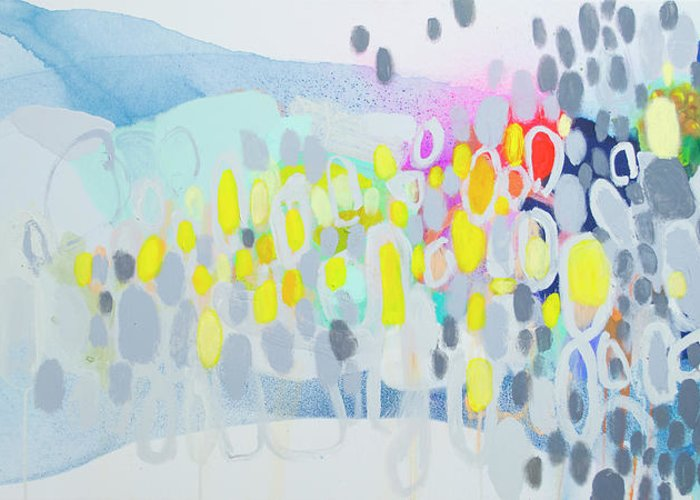 Abstract Greeting Card featuring the painting Ten O'clock Flight by Claire Desjardins