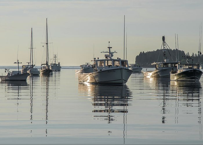 Nautical Greeting Card featuring the photograph Tenant's Harbor At Dawn by Jesse MacDonald