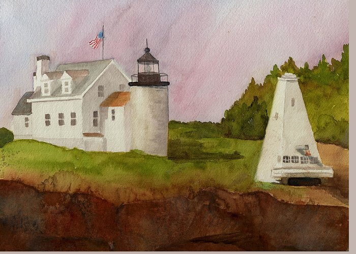 Lighthouse Greeting Card featuring the painting Tenants Harbor Light by Peggy Bergey