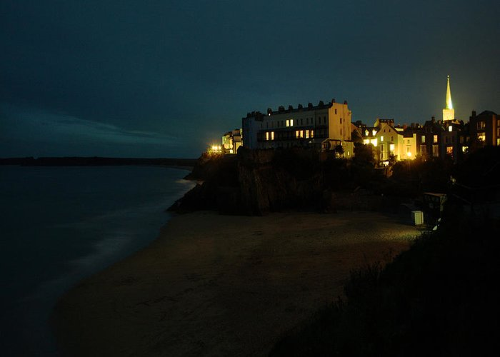 Tenby Greeting Card featuring the photograph Tenby By Night by Angel Ciesniarska
