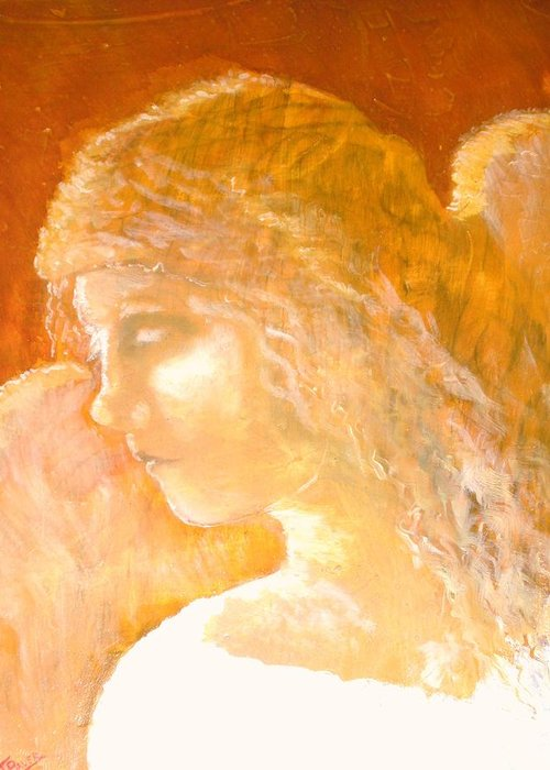 Angel Greeting Card featuring the painting Tender Mercy by J Bauer