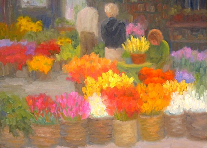 Flowers Greeting Card featuring the painting Tending Flowers - Amsterdam by Bunny Oliver