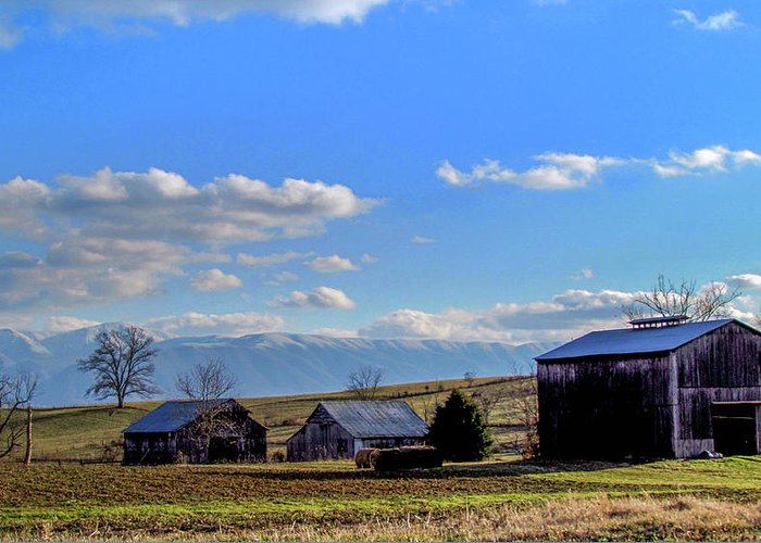 Country Farm Winter Mountains Snow Rural Landscape Greeting Card featuring the photograph Tennessee Farm by Judy Baird
