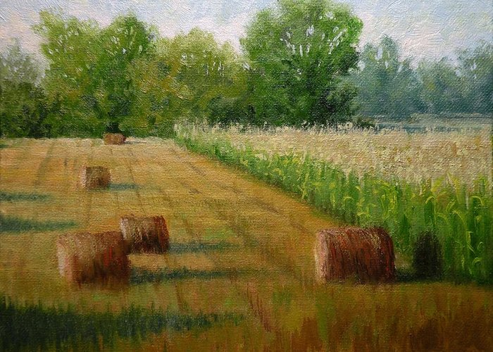Tennessee Greeting Card featuring the painting Tennessee Hay And Corn Fields by Paula Ann Ford
