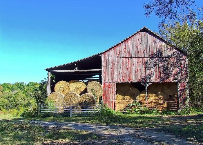 Shadows Greeting Card featuring the photograph Tennessee Hay Barn by Richard Gregurich