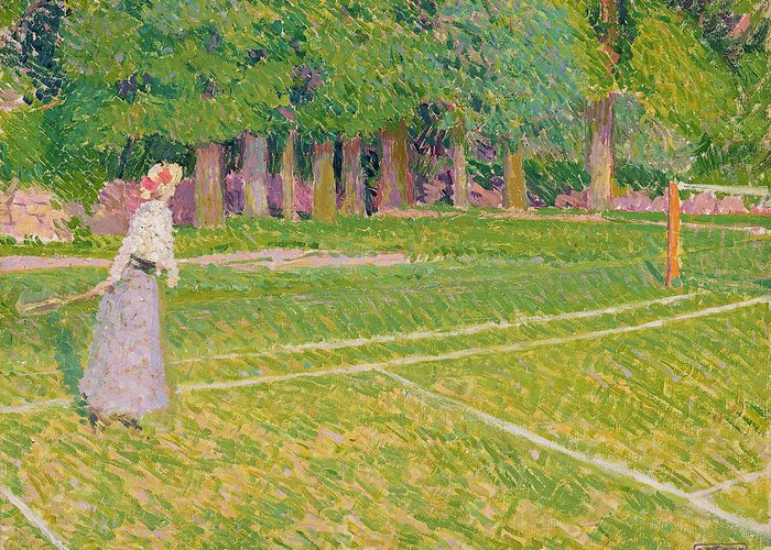 Tennis Greeting Card featuring the painting Tennis At Hertingfordbury by Spencer Frederick Gore