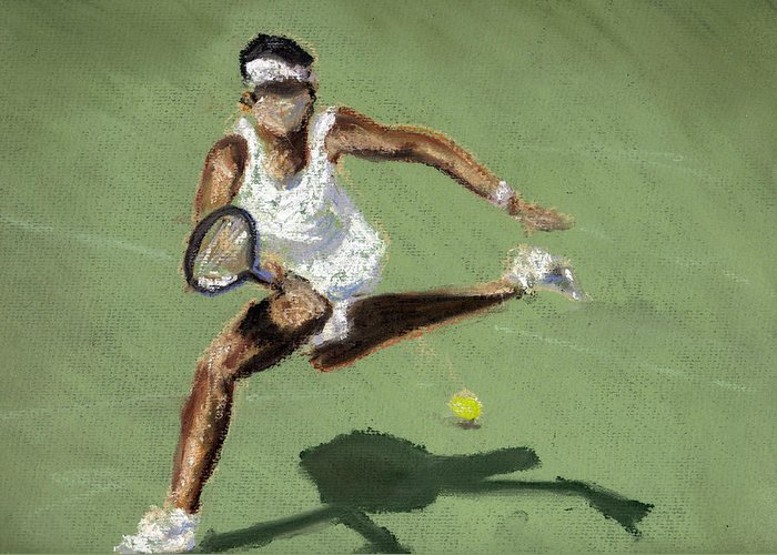 Pastels Greeting Card featuring the pastel Tennis In The Sun by Paul Mitchell