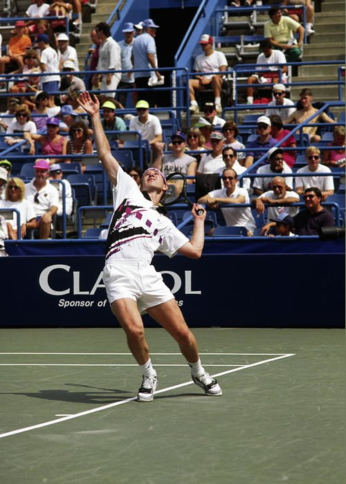 John Mcenroe Serving Greeting Card featuring the photograph Tennis Serve by Sally Weigand