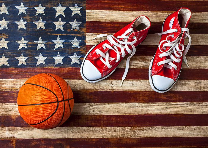 Tennis Greeting Card featuring the photograph Tennis Shoes And Basketball On Flag by Garry Gay