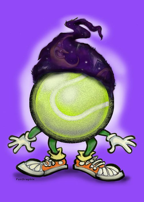 Tennis Greeting Card featuring the digital art Tennis Wiz by Kevin Middleton