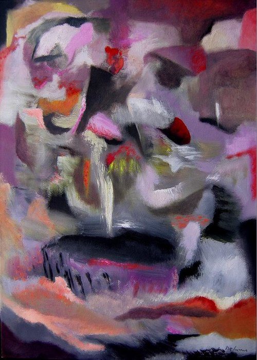 Abstract Painting Abstract Art Greeting Card featuring the painting Tentativo Di Pittura by Adolfo De Turris