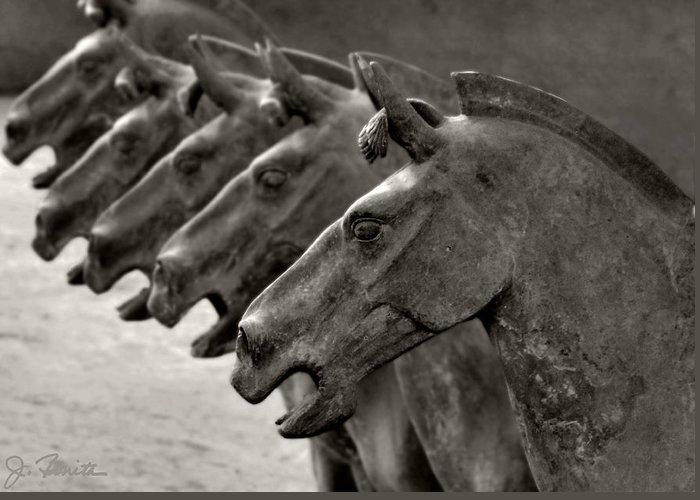 Terracotta Greeting Card featuring the photograph Terracotta Horses by Joe Bonita