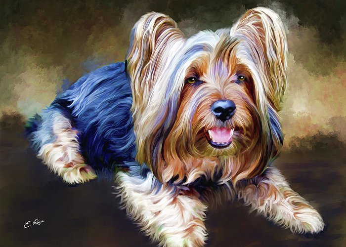 Dog Greeting Card featuring the painting Terrier by Ellens Art