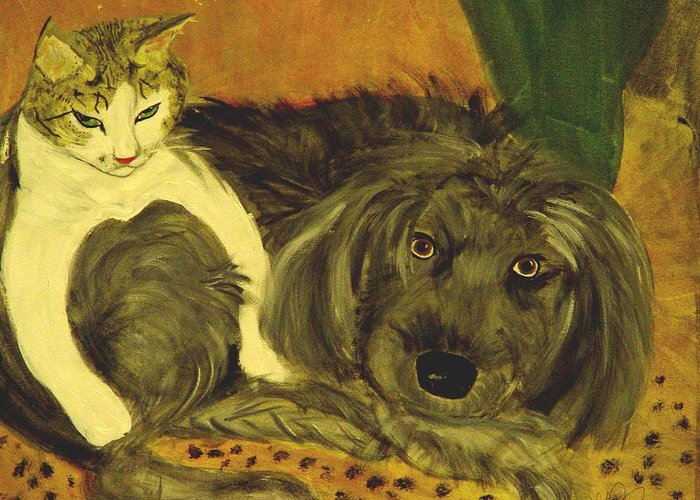 Terrier Greeting Card featuring the painting Terrier Mix And Feline Friend by Karen McNamara