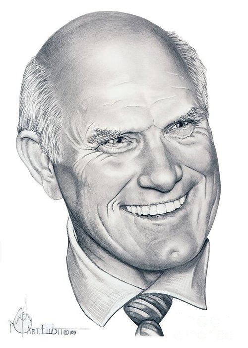 Terry Bradshaw Greeting Card featuring the drawing Terry Bradshaw-murphy Elliott by Murphy Elliott