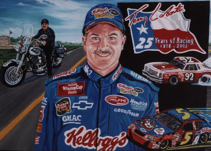Portrait Greeting Card featuring the painting Terry Labonte by Diann Baggett