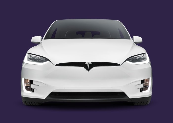 Tesla Greeting Card featuring the photograph Tesla Model X Luxury Suv Electric Car Front Art Photo Print by Maxim Images Prints