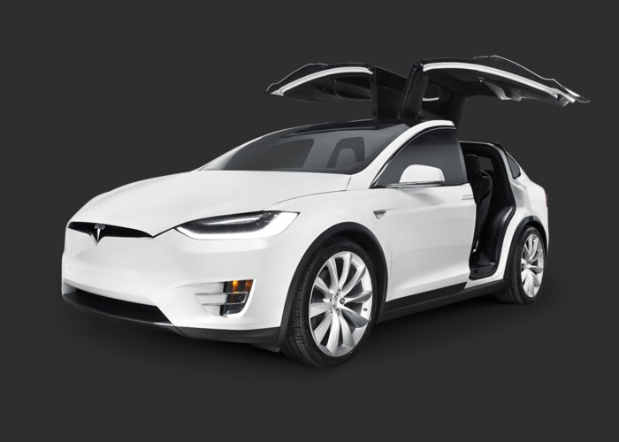 Tesla Greeting Card featuring the photograph Tesla Model X Luxury Suv Electric Car With Open Falcon-wing Doors Art Photo Print by Maxim Images Prints