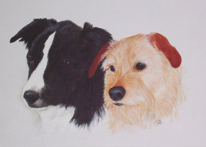 Pet Portrait Greeting Card featuring the painting Tess And Winston by Janice M Booth