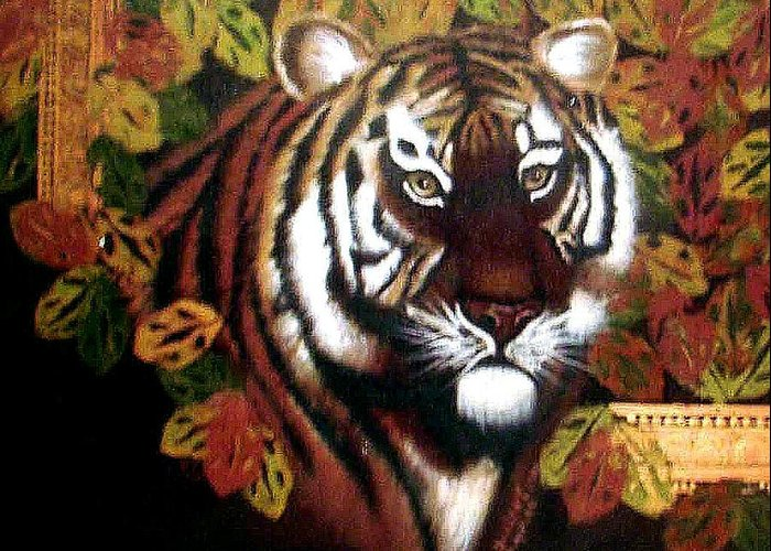 Tiger Greeting Card featuring the painting Tessas Tiger by Darlene Green