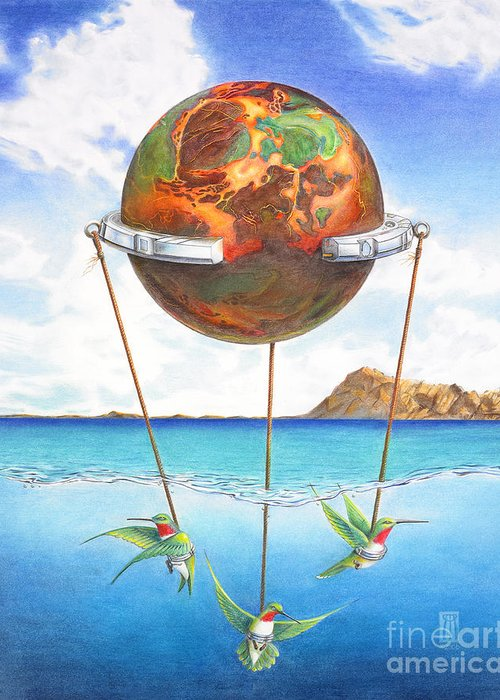 Surreal Greeting Card featuring the painting Tethered Sphere by Melissa A Benson