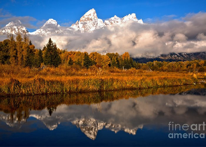 Gtnp Greeting Card featuring the photograph Teton Snow Cap Reflections by Adam Jewell