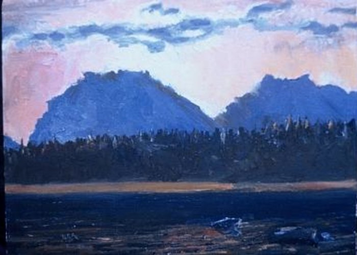 Sunset On Jackson Lake At Jackson Hole Greeting Card featuring the painting Teton Sunset by Bryan Alexander