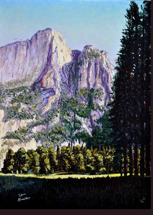 Mountain Greeting Card featuring the painting Tetons by Stan Hamilton