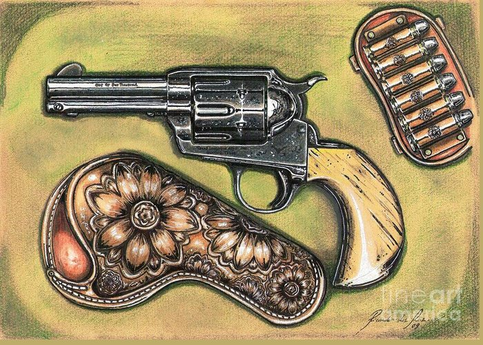 Revolver Greeting Card featuring the drawing Texas Border Special by Ricardo Reis