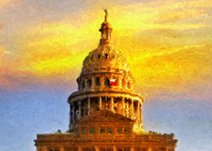 Dallas Greeting Card featuring the painting Texas Capitol At Sunset Austin by Jeff Steed