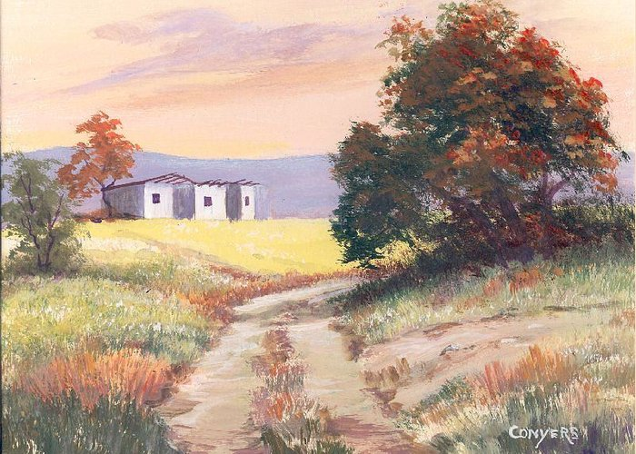 Texas Greeting Card featuring the painting Texas Landscape by Peggy Conyers