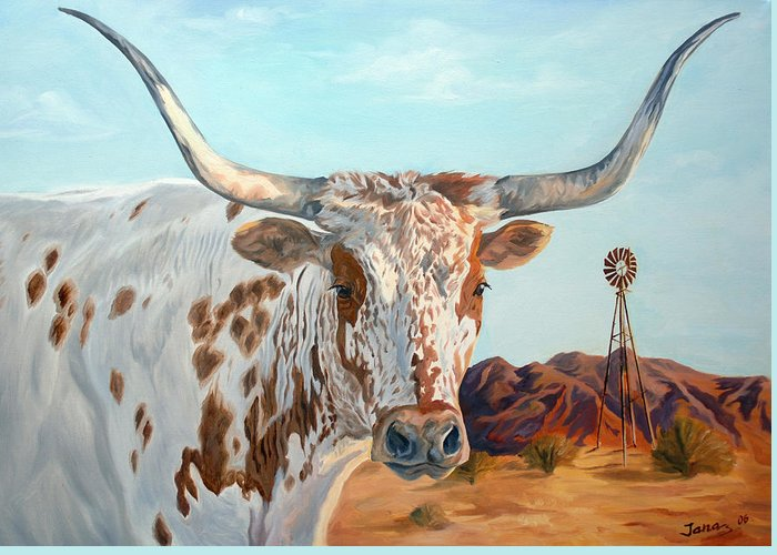 Texas Longhorn Greeting Card featuring the painting Texas Longhorn by Jana Goode