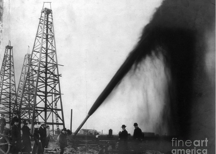 1901 Greeting Card featuring the photograph Texas: Oil Derrick, C1901 by Granger