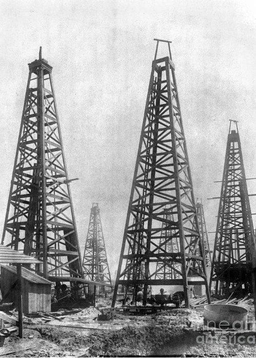 1901 Greeting Card featuring the photograph Texas: Oil Derricks, C1901 by Granger