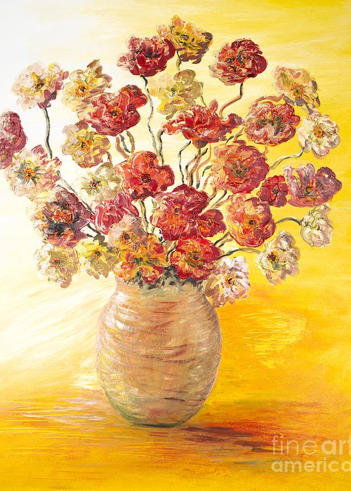 Flowers Greeting Card featuring the painting Textured Flowers In A Vase by Nadine Rippelmeyer